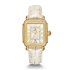 Deco Madison Gold and Gold Wash Alligator Diamond Watch