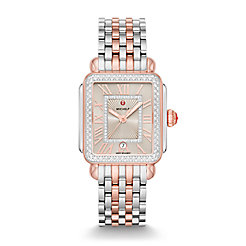 Deco Madison Two-Tone Pink Gold Diamond Watch