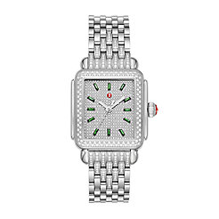 Deco Stainless Emerald and Pavé Diamond Watch