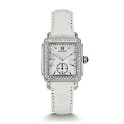 Deco Mid Diamond White Alligator Watch