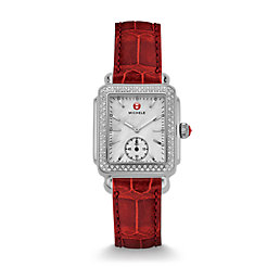 Deco Mid Diamond Garnet Alligator Watch
