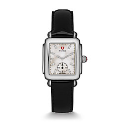 Deco Mid, Diamond Dial Black Patent Watch