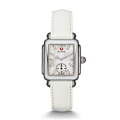 Deco Mid, Diamond Dial White Patent Watch