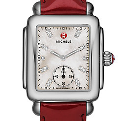 Deco Mid, Diamond Dial Scarlet Patent Watch