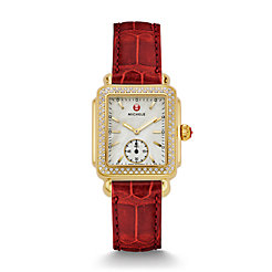 Deco Mid Diamond Gold Garnet Alligator Watch