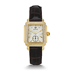 Deco 16 Diamond Gold Espresso Alligator Watch