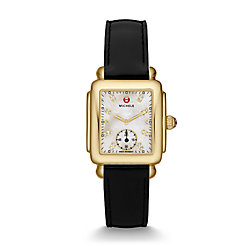 Deco Mid Gold, Diamond Dial Black Patent Watch