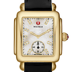 Deco 16 Gold, Diamond Dial Black Patent Watch
