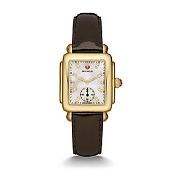 Deco 16 Gold, Diamond Dial Espresso Patent Watch