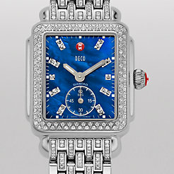 Deco 16 Diamond, Blue Diamond Dial on Diamond Taper Bracelet Watch