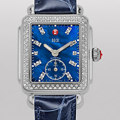 Deco 16 Diamond, Blue Diamond Dial Navy Alligator Watch