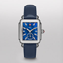 Deco 16, Blue Diamond Dial Navy Patent Watch