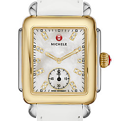 Deco 16 Two-Tone, Diamond Dial on White Patent Watch