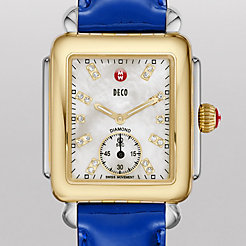 Deco 16 Two-Tone, Diamond Dial on Blue Patent Watch