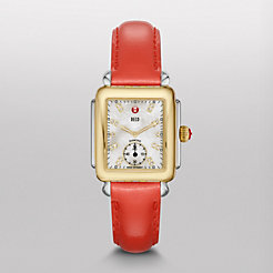 Deco 16 Two-Tone, Diamond Dial on Bright Orange Patent Watch
