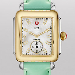 Deco 16 Two-Tone, Diamond Dial on Seafoam Patent Watch