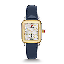 Deco Mid Two-Tone, Diamond Dial on Navy Patent Watch