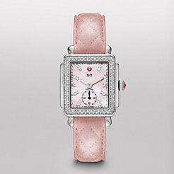 Deco 16 Diamond, Pink Diamond Dial Pearl Pink Quilted Leather Watch