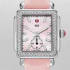 Deco 16 Diamond, Pink Diamond Dial Pearl Pink Patent Watch