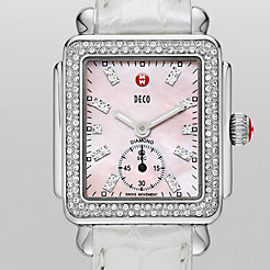 Deco 16 Diamond, Pink Diamond Dial Silver Alligator Watch