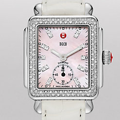 Deco 16 Diamond, Pink Diamond Dial White Alligator Watch