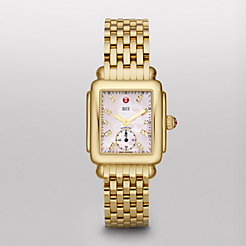 Deco 16 Gold, Pink Diamond Dial Watch