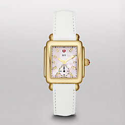 Deco 16 Gold, Pink Diamond Dial White Patent Watch