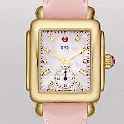 Deco 16 Gold, Pink Diamond Dial Pearl Pink Patent Watch