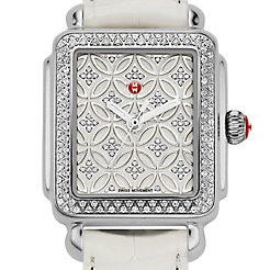 Deco 16 Fleur Diamond, Diamond Dial White Alligator Watch