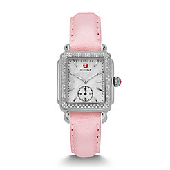 Deco Mid Diamond Powder Pink Saffiano Watch