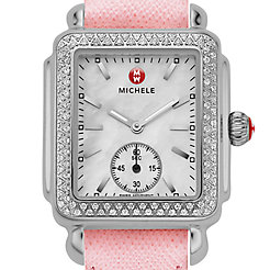 Deco 16 Diamond Powder Pink Saffiano Watch