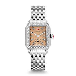 Deco 16 Diamond, Metallic Rose Gold Diamond Dial Watch