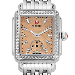 Deco 16 Diamond, Metallic Rose Gold Diamond Dial Watch