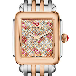 Deco 16 Diamond Two Tone Rose Gold, Pink Topaz and Diamond Dial Watch