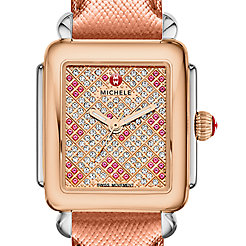 Deco 16 Diamond Two Tone Rose Gold, Pink Topaz and Diamond Dial Rose Gold Saffiano Watch