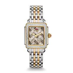 Deco Mid Diamond Two Tone, Cocoa Mosaic Diamond Dial Watch