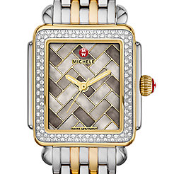 Deco 16 Diamond Two Tone, Cocoa Mosaic Diamond Dial Watch