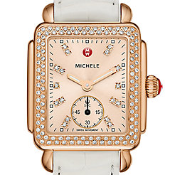 Deco 16 Diamond Rose Gold, Beige Diamond Dial White Alligator Watch