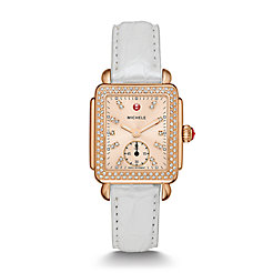 Deco 16 Diamond Rose Gold, Beige Diamond Dial Silver Alligator Watch