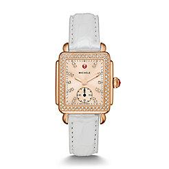 Deco 16 Diamond Rose Gold, Beige Diamond Dial Silver Alligator Watch