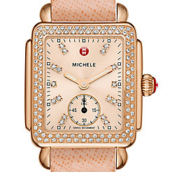 Deco 16 Diamond Rose Gold, Beige Diamond Dial Peach Saffiano Watch