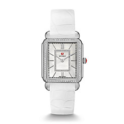 Deco II Diamond, Diamond Dial White Alligator Thin Watch