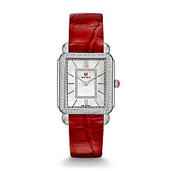 Deco II Diamond, Diamond Dial Garnet Alligator Thin Watch