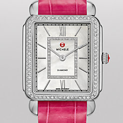 Deco II Diamond, Diamond Dial Pink Alligator Thin Watch