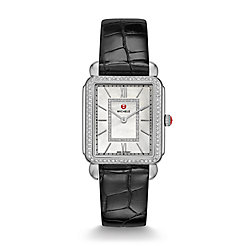 Deco II Diamond, Diamond Dial Black Alligator Thin Watch