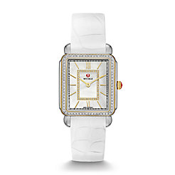 Deco II Diamond Two-Tone, Diamond Dial White Alligator Thin Watch