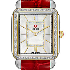 Deco II Diamond Two-Tone, Diamond Dial Garnet Alligator Thin Watch