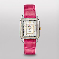 Deco II Diamond Two-Tone, Diamond Dial Pink Alligator Thin Watch