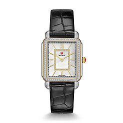 Deco II Diamond Two-Tone, Diamond Dial Black Alligator Thin Watch