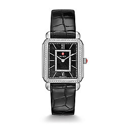 Deco II Diamond, Black Diamond Dial Black Alligator Thin Watch